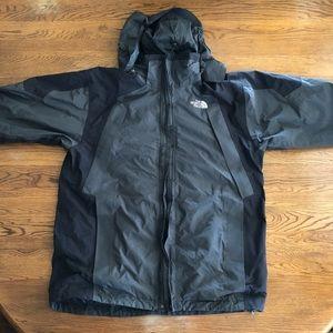 The North face rain jacket medium black gray